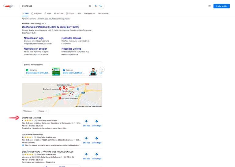 vista de ejemplo busqueda en google