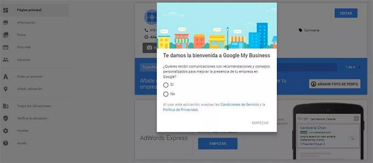 proceso de alta en google my business