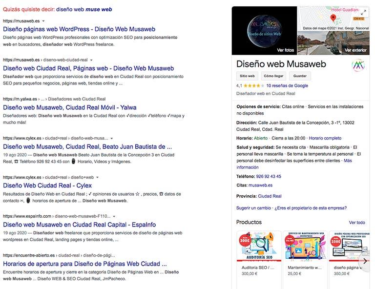 vista de ejemplo de google my business y google maps
